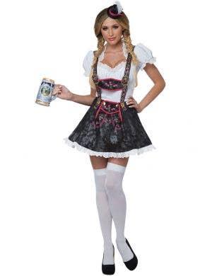 Flirty Fraulein Black and White Women's Sexy Oktoberfest Costume Main Image