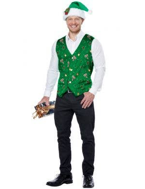 Holiday Green Men's Christmas Costume Vest and Hat