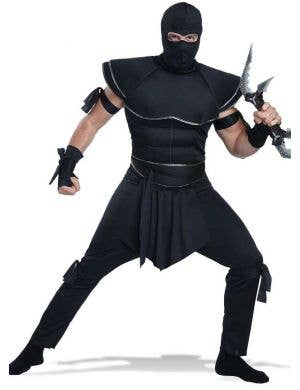 Men's Black Ninja Warrior Fancy Dress Costume Front Image