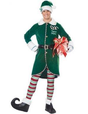 Men's Green Workshop Elf Christmas Costume Front