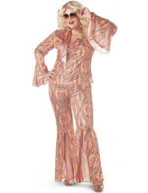 Plus Size Women's 70's Disco Fancy Dress Costume Front
