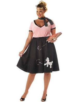 Plus Size Women's Black Poodle Skirt 50's Costume Front