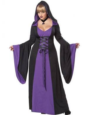 Hooded Plus Size Women's Purple Halloween Costume Robe