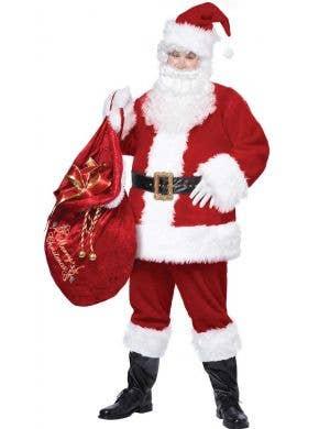 Deluxe Men's Red Velvet Father Christmas Costume