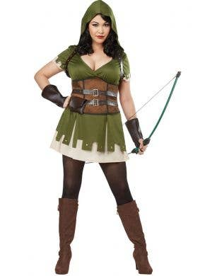 Women's Plus Size Lady Robin Hood Fancy Dress Costume Main Image