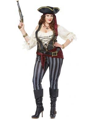 Plus Size Buccaneer Women's Black and Grey Pirate Costume Main Image
