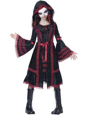 Teen Girl's Gothic Black Doll Halloween Fancy Dress Front
