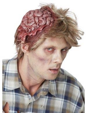 Messy Men's Zombie Wig with Attached Latex Brain