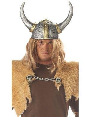 Antique Silver Latex Viking Helmet Costume Accessory