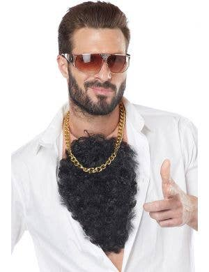 Hairy Black Chest Hair Latex Chest Piece Costume Accessory