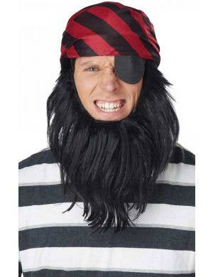 Red and Black Striped Pirate Costume Hat and Beard
