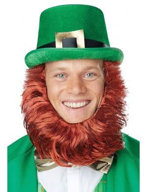 St Patrick's Day Green Hat and Orange Beard Costume Accessory Set