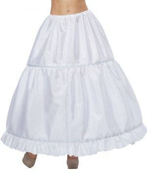 Deluxe Full Length Women's White Adjustable Hoop Skirt