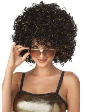 1970's Disco Glitter Women's Black Afro Costume Wig