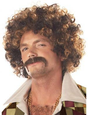 Disco Dirt Bag Men's Brown Afro Costume Wig and Moustache