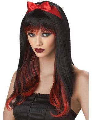 Enchanted Tresses Women's Black and Red Wig