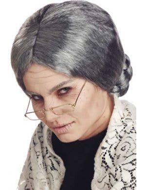 Women's Old Grandma Grey Costume Wig