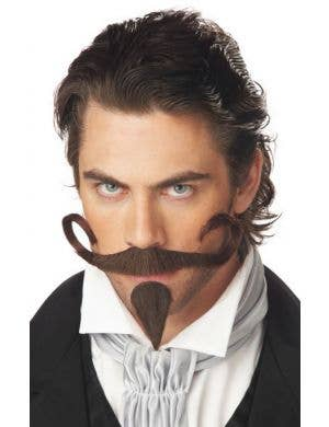 The Gambler Brown Curled Moustache and Goatee