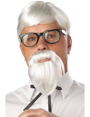 Men's KFC White Colonel Sanders Wig and Goatee Beard Set
