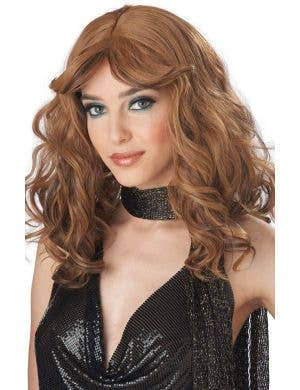 1970's Disco Women's Caramel Brown Costume Wig