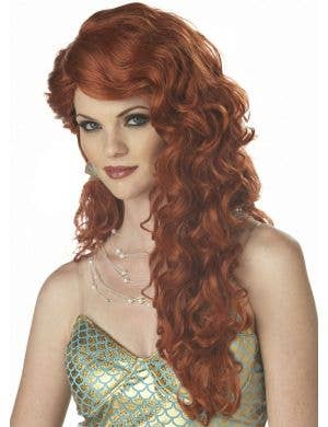 Ariel Long Auburn Red The Little Mermaid Costume Wig for Women Front View