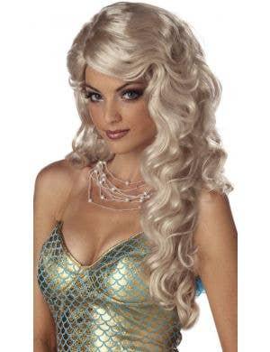 Long Curly Blonde Women's Mermaid Costume Wig