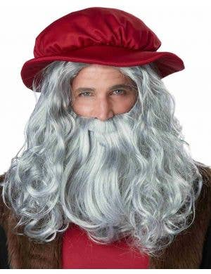 Men's Long Wavy Grey Beard and Wig Costume Accessory