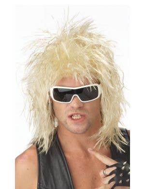 1980's Crimped Blonde Men's Mullet Costume Wig