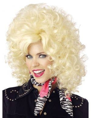 Women's Blonde Country Western Diva Dolly Parton Costume Wig Front View