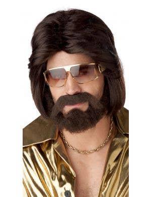 70's Men's Brown Costume Wig Beard and Moe Set