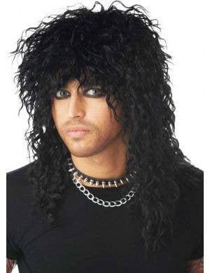 Men's Crimped Black 1980's Mullet Wig