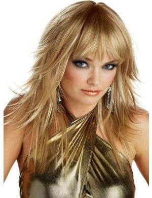 Feathered and Flirty Womens Blonde 70's Costume Wig
