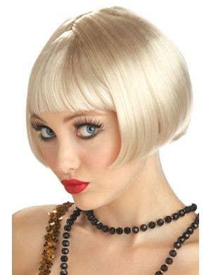 Flirty Flapper Blonde Women's Short Bob Cut Great Gatsby Wig Front View Image