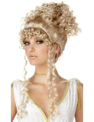 Greek Goddess Women's Curly Blonde Updo Costume Wig