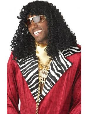 Pimp Men's Black Curl Wig With Fringe image 1
