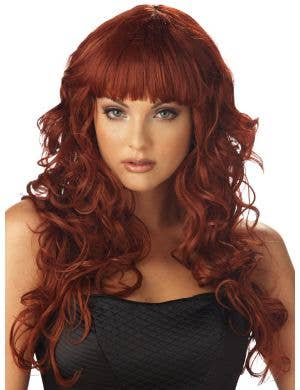 Impulse Auburn Red Women's Curly Wig with Fringe