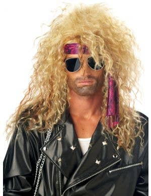 1980's Mens Frizzy Blonde Costume Wig Image 1
