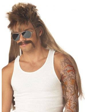 Joe Dirt Mississippi Mud Flap Light Brown Mullet Red Neck Wig Front View