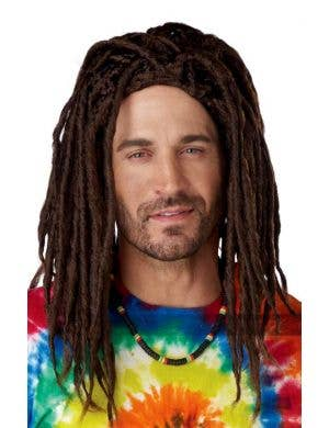 Island Dreads Men's Rasta Brown Costume Wig