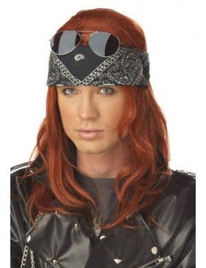 Axl Rose Men's Long Auburn Red Guns 'N' Roses Costume Wig Front View Image