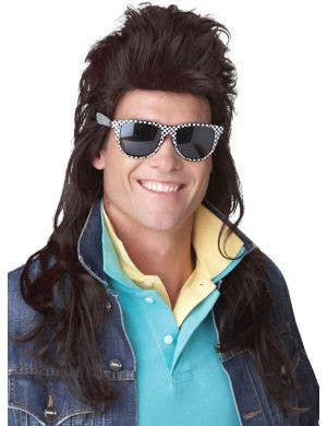 Dark Brown Men's Mullet 1980's Costume Wig Front View Image