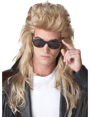Rock Mullet Men's Long Blonde 80's Bogan Costume Wig Front View