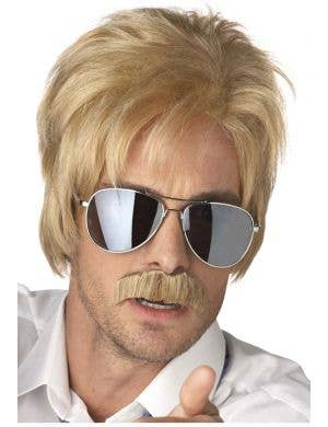 1970's Detective Men's Blonde Cop Wig and Moustache Set
