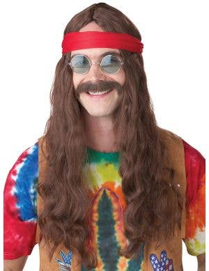 70's Hippie Men's Brown Costume Wig with Moustache