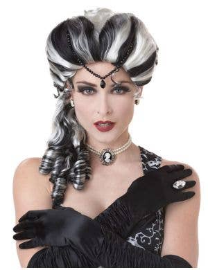 Victorian Side Curls Halloween Wig in Black and White