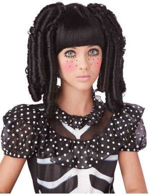 Kids Black Ringlet Curls Doll Halloween Wig