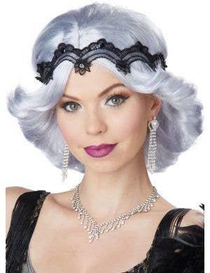 Glamour Women's 20's Gatsby Silver Wig and Headband