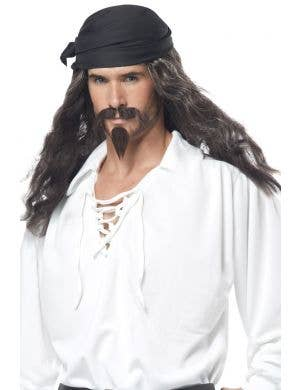 Black Pirate Wig With Black Chin Hair Image 1