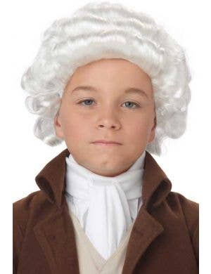 Boys White Colonial General Costume Wig