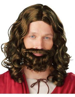 Bushy Brown Jesus Beard and Wig Set For Men